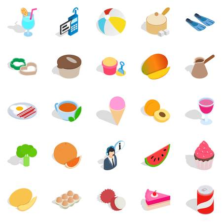Bite icons set. Isometric set of 25 bite vector icons for web isolated on white background