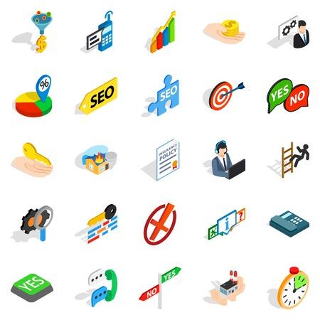 Headquarters icons set. Isometric set of 25 headquarters vector icons for web isolated on white background