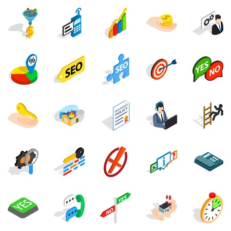 Headquarters icons set. Isometric set of 25 headquarters vector icons for web isolated on white background