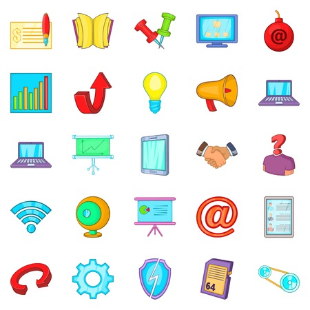 Manager icons set. Cartoon set of 25 manager vector icons for web isolated on white background