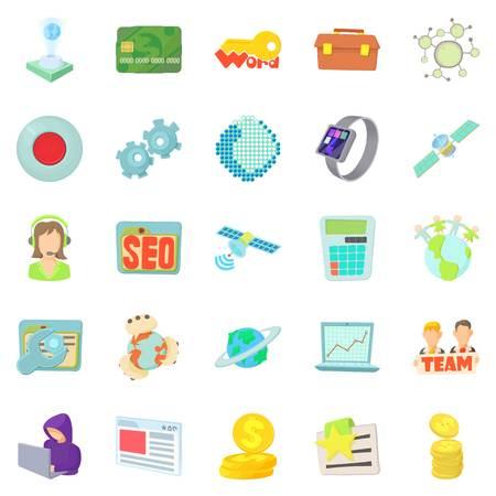 Telecommunications icons set. Cartoon set of 25 telecommunications vector icons for web isolated on white background