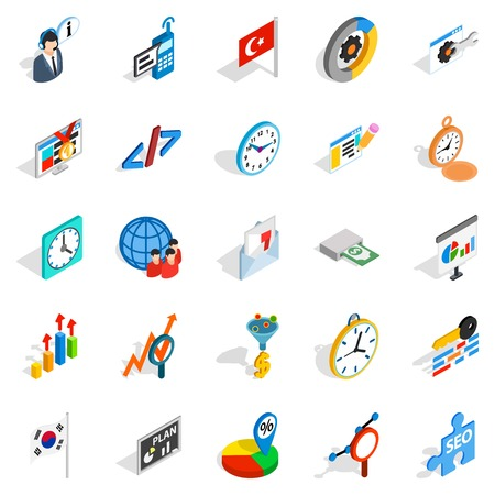 Business plan icons set. Isometric set of 25 business plan vector icons for web isolated on white background Illustration