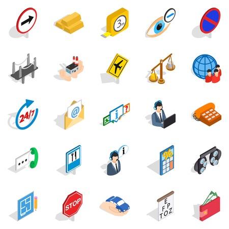 Cura le icone impostate. Un insieme isometrico di 25 si occupa delle icone di vettore per il web isolato su fondo bianco