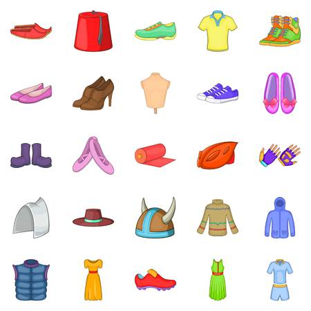Sport shoes icons set. Cartoon set of 25 sport shoes vector icons for web isolated on white background Illustration