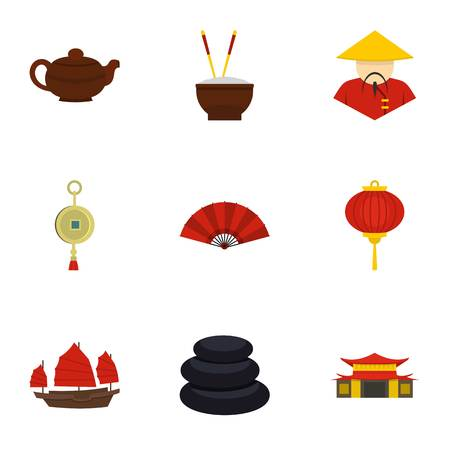 chinatown: China icon set. Flat style set of 9 country of China vector icons for web isolated on white background