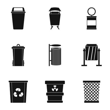 Conjunto de iconos de cubo de basura. Conjunto de estilo simple de 9 iconos de vector de almacenamiento de basura para web aisladas sobre fondo blanco Foto de archivo - 83341286
