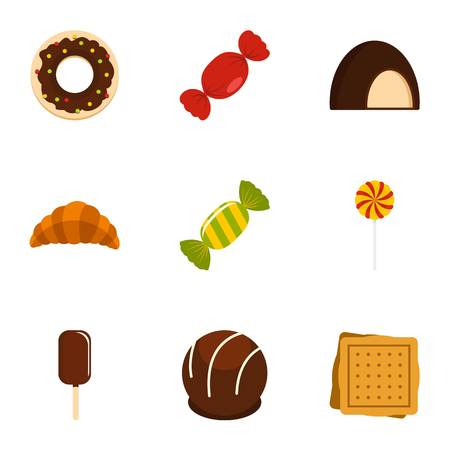 Candies icon set. Flat style set of 9 sweet vector icons for web isolated on white background Illustration