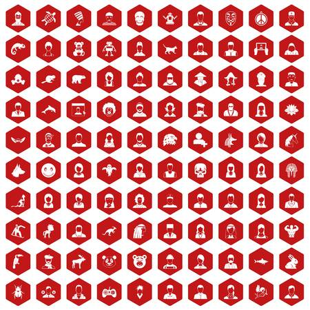 100 avatar icons set in red hexagon isolated vector illustration