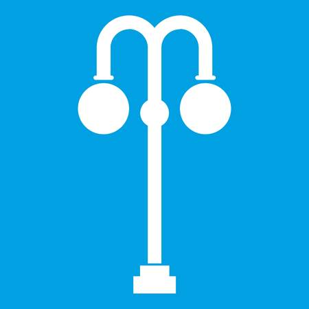 Street lamp icon white isolated on blue background vector illustration