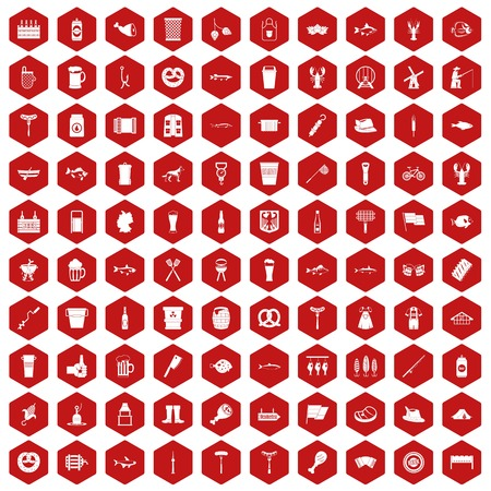 100 beer icons set in red hexagon isolated vector illustration