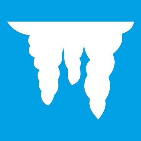 Icicles icon white isolated on blue background vector illustration