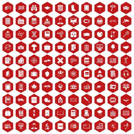 range fruit: 100 book icons set in red hexagon isolated vector illustration