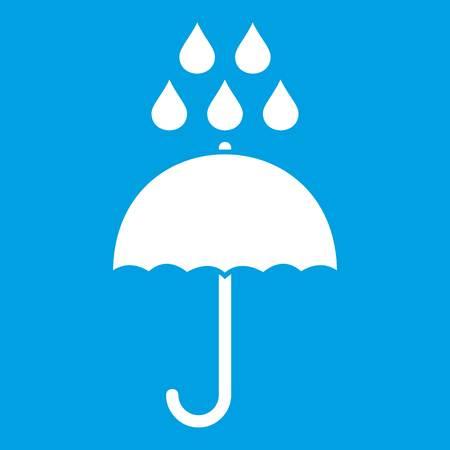 De paraplu en de regen laten vallen pictogramwit op blauwe vectorillustratie wordt geïsoleerd die als achtergrond Stock Illustratie