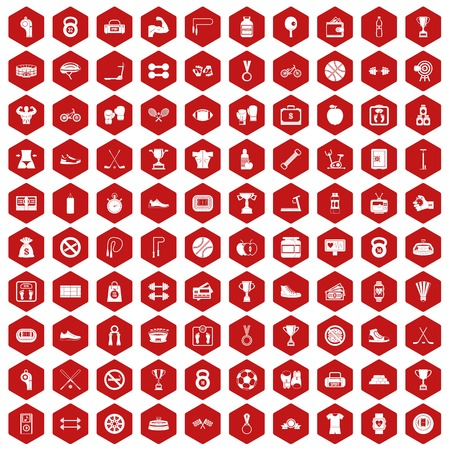 100 boxing icons set in red hexagon isolated vector illustration