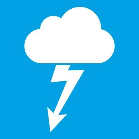 rainy season: Cloud with lightning icon white isolated on blue background vector illustration Illustration