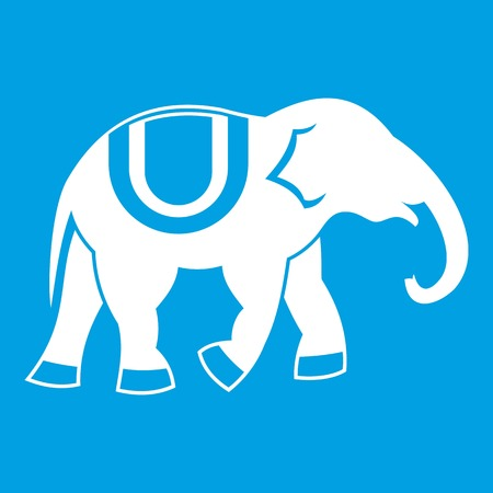Elephant icon white isolated on blue background vector illustration Иллюстрация