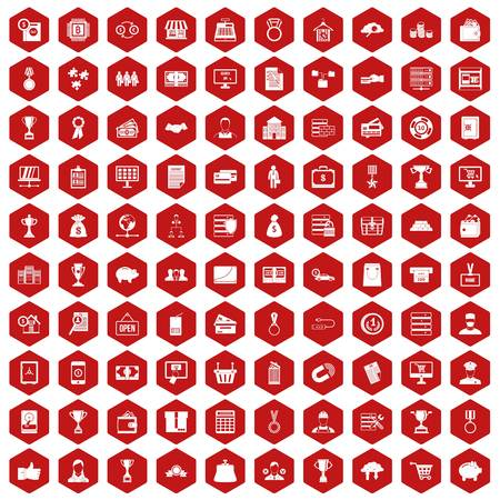 price development: 100 business icons set in red hexagon isolated vector illustration