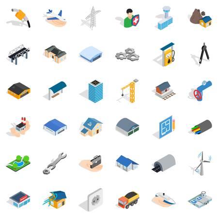 建設産業のアイコンを設定します。36 建設業界のベクトルのアイコン web は、白い背景で隔離のアイソメ図スタイル  イラスト・ベクター素材