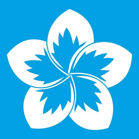 Frangipani flower icon white isolated on blue background vector illustration Illustration