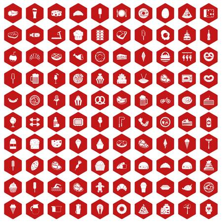100 calories icons set in red hexagon isolated vector illustration