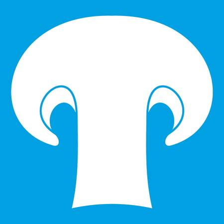 Champignon mushroom icon white. Vector illustration.