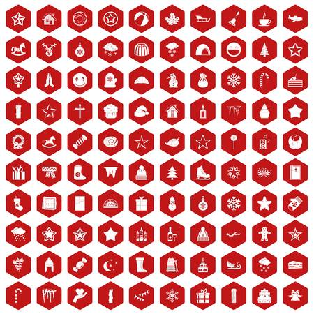horse sleigh: 100 christmas icons hexagon red Illustration