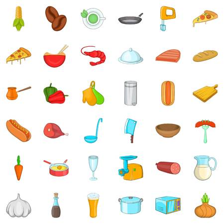 Cooking food icons set, cartoon style