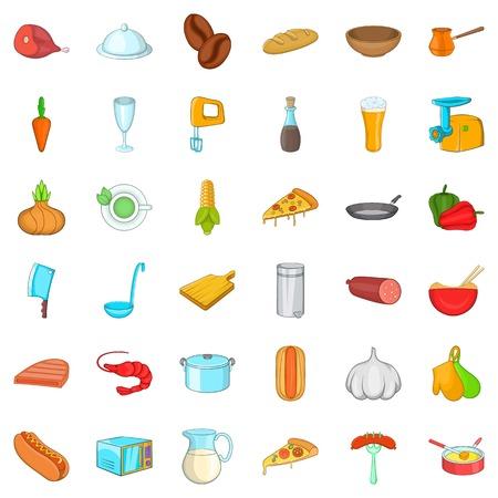 Good cooking icons set, cartoon style Illustration