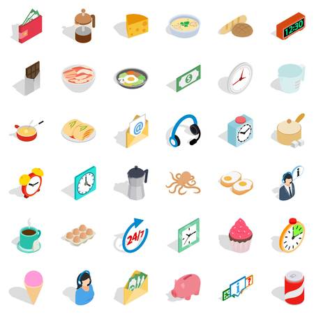 rolling bag: Cooking food icons set, isometric style