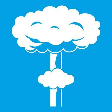 bombe atomique: Icône d'explosion nucléaire blanc Illustration