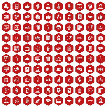 coherence: 100 coherence icons hexagon red Illustration