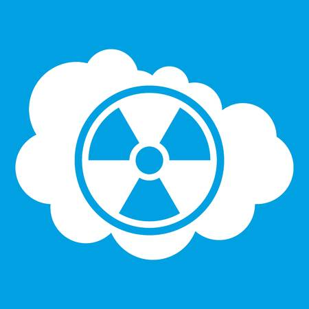 nuke plant: Cloud and radioactive sign icon white