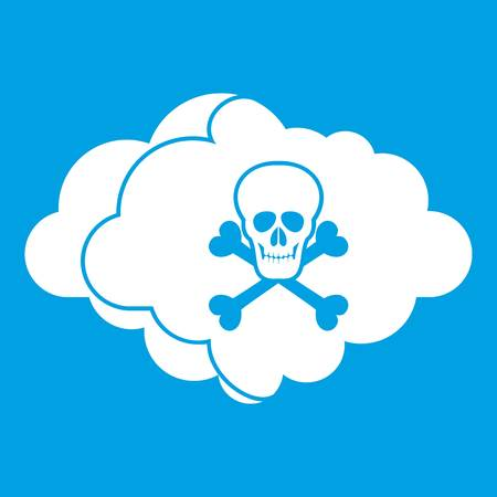 Cloud with skull and bones icon white
