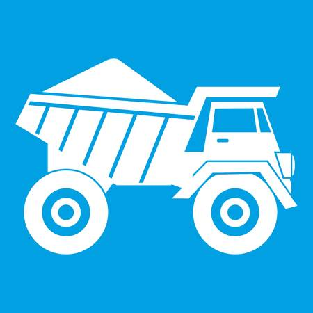 Dump truck with sand icon white