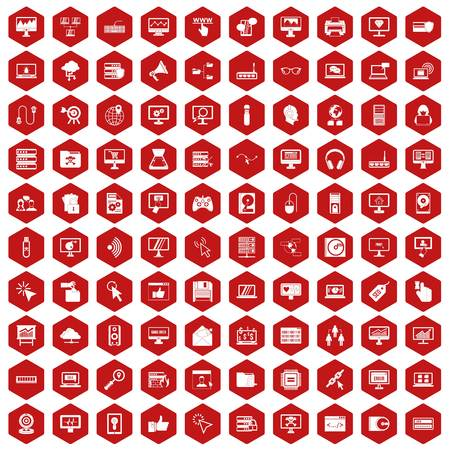 setup: 100 computer icons set in red hexagon isolated vector illustration Illustration