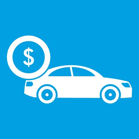 Car and dollar sign icon white isolated on blue background vector illustration