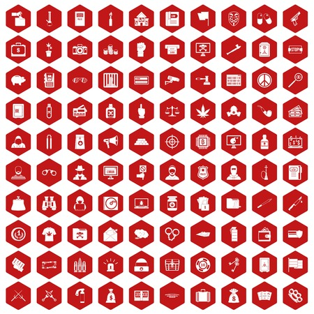 100 criminal offence icons set in red hexagon isolated vector illustration Illustration