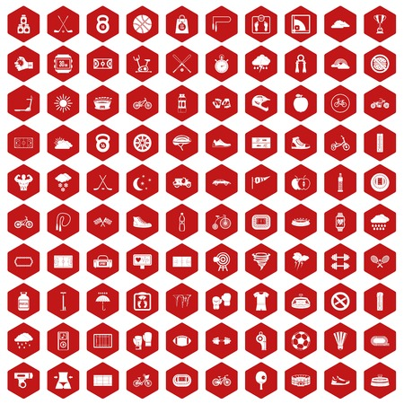 bicycle pump: 100 cycling icons set in red hexagon isolated vector illustration Illustration