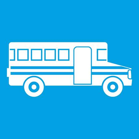 schoolbus: School bus icon white isolated on blue background vector illustration Illustration
