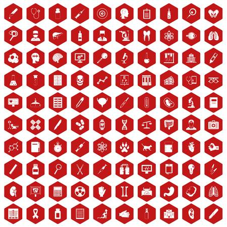 heart monitor: 100 diagnostic icons hexagon red