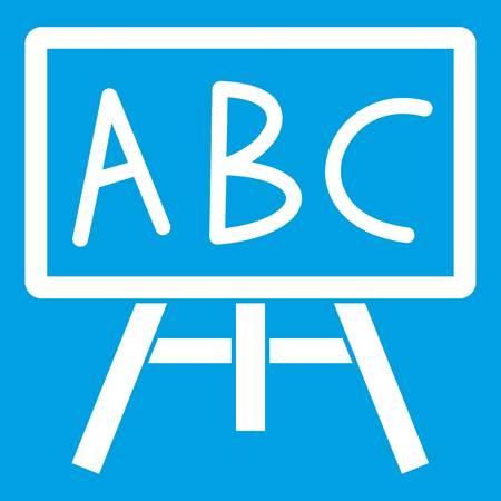 Krijtbord met de letters ABC-pictogram wit