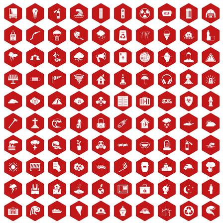 flooding: 100 disaster icons set in red hexagon isolated vector illustration.