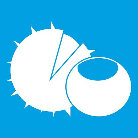 Hazelnuts icon white isolated on blue background vector illustration Illustration