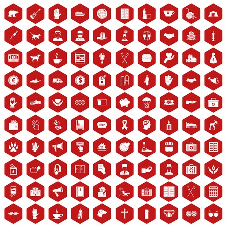 gift accident: 100 donation icons set in red hexagon isolated vector illustration
