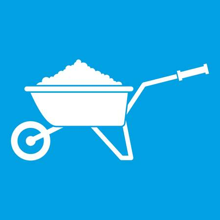 Wheelbarrow loaded with soil icon white isolated on blue background vector illustration.