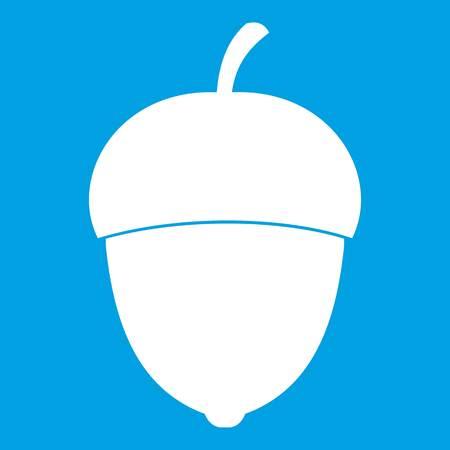 Acorn icon isolated on blue background vector illustration