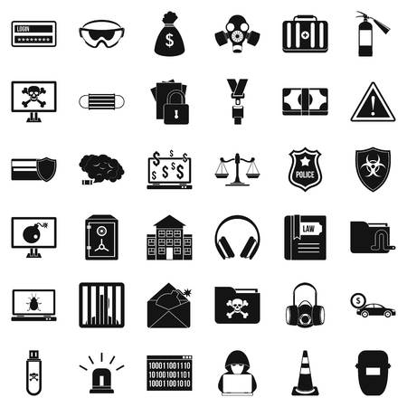 scale of justice: Crime icons set. Simple style of 36 crime vector icons for web isolated on white background
