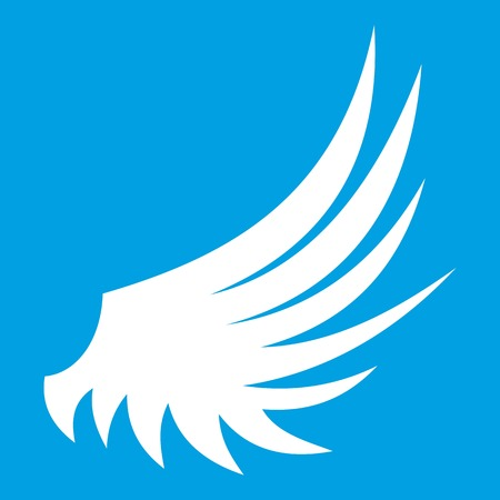 Wing icon white isolated on blue background vector illustration Illustration