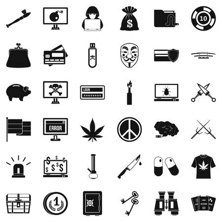 scale of justice: Criminal offence icons set. Simple style of 36 criminal offence vector icons for web isolated on white background
