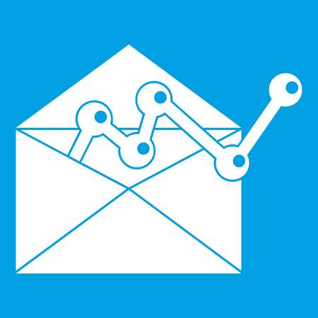 Envellope with graph icon white isolated on blue background vector illustration.